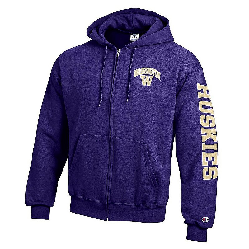 Washington Huskies Full Zip Hooded Sweatshirt Letterman Purple APC02974038/APC02974039