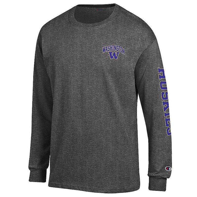 Washington Huskies Long Sleeve Tshirt Letterman Charcoal APC02974038/APC02974039