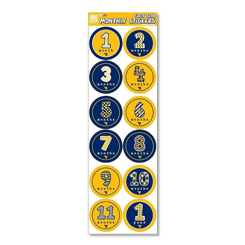 West Virginia Mountaineers Baby's First Year Monthly Stickers
