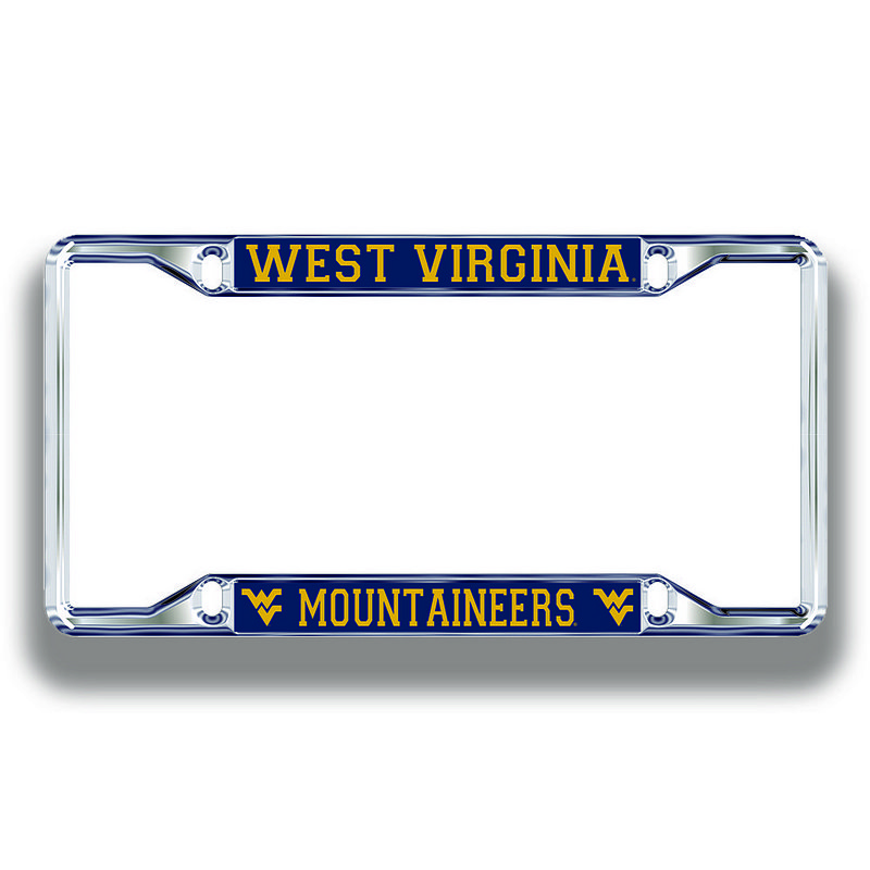 West Virginia Mountaineers License Plate Frame Silver 08998