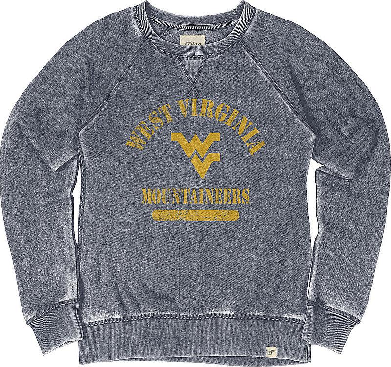 West Virginia Mountaineers Womens Burnout Crewneck Sweatshirt Vintage S7FS_JBWFC_NAVY