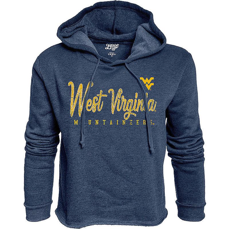 West Virginia Mountaineers Womens Crop Hoodie Sweatshirt Vintage S7F8_JCCF_NAVY