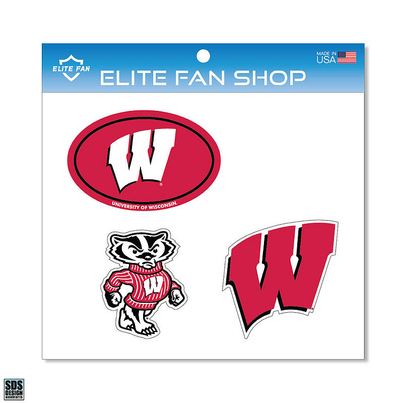 "Wisconsin Badgers 6"" Vinyl Decal 3-Pack DWISC01"