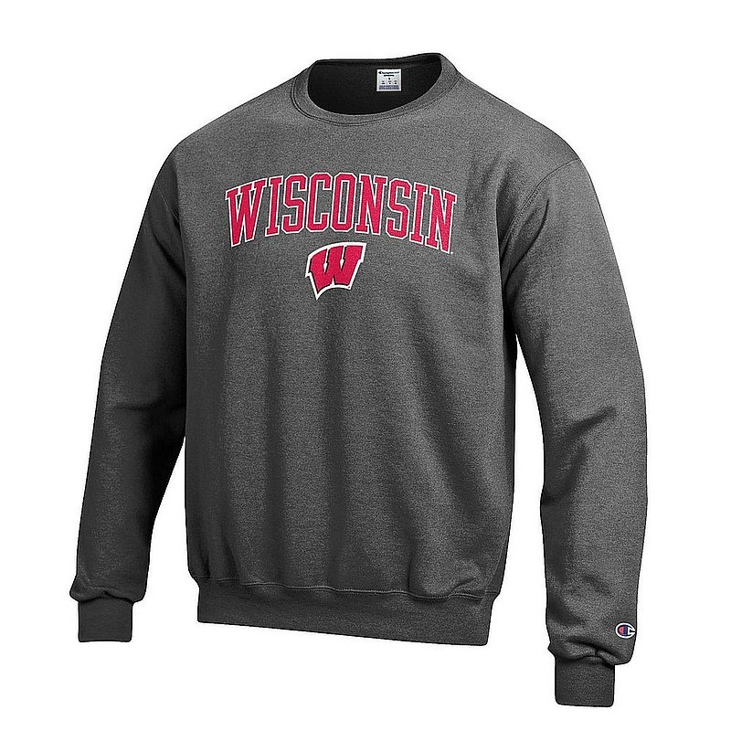 Wisconsin Badgers Crewneck Sweatshirt Charcoal Arch Over APC02964237*