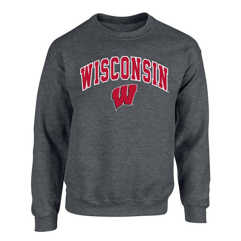 Wisconsin Badgers Crewneck Sweatshirt Heather Gray P0006209