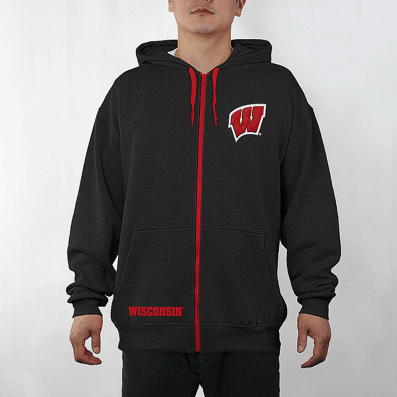 Wisconsin Badgers Full Zip Hoodie Sweatshirt Captain Black WIS29704