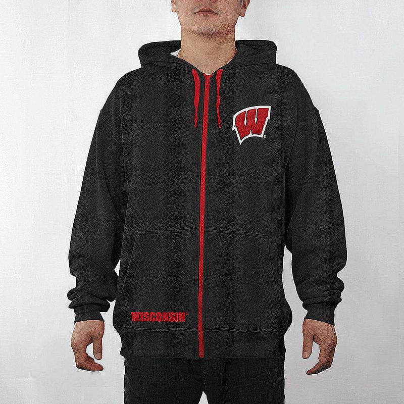Wisconsin Badgers Full Zip Hoodie Sweatshirt Captain Black WIS29704