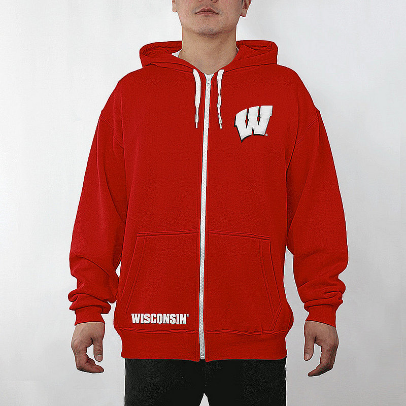 Wisconsin Badgers Full Zip Hoodie Sweatshirt Captain Cardinal WIS29704