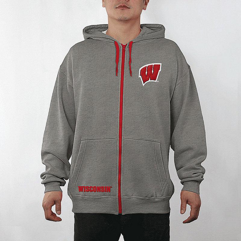 Wisconsin Badgers Full Zip Hoodie Sweatshirt Captain Gray WIS29704