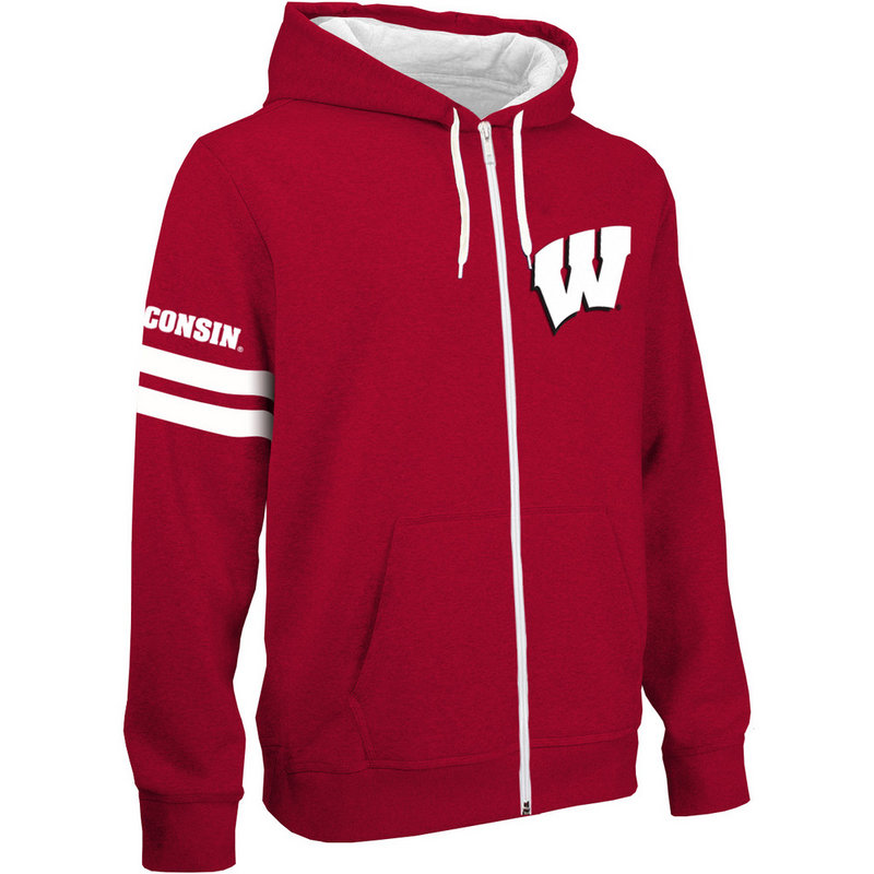 Wisconsin Badgers Full Zip Hoodie Sweatshirt Captain Red WIS29680