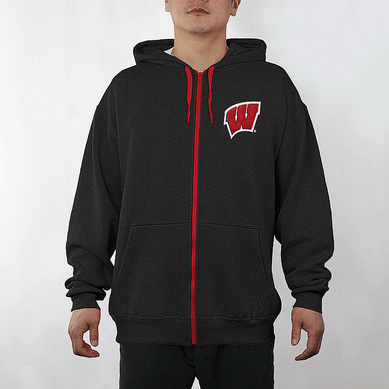 Wisconsin Badgers Full Zip Hoodie Sweatshirt Gridiron Black WIS29803