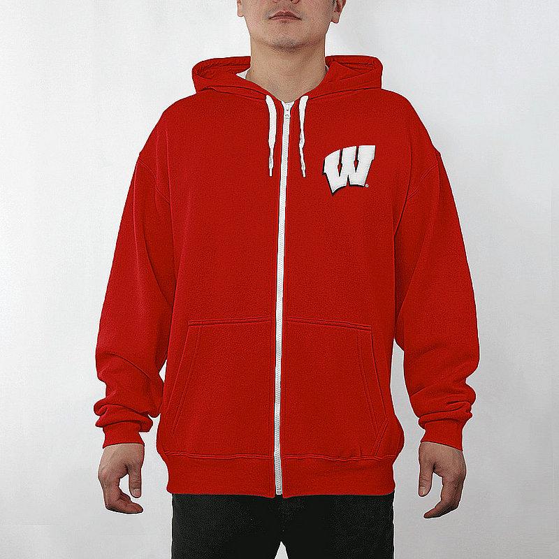 Wisconsin Badgers Full Zip Hoodie Sweatshirt Gridiron Cardinal WIS29803