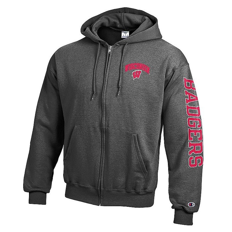 Wisconsin Badgers Full Zip Hoodie Sweatshirt Letterman Charcoal APC02973730/APC02974357