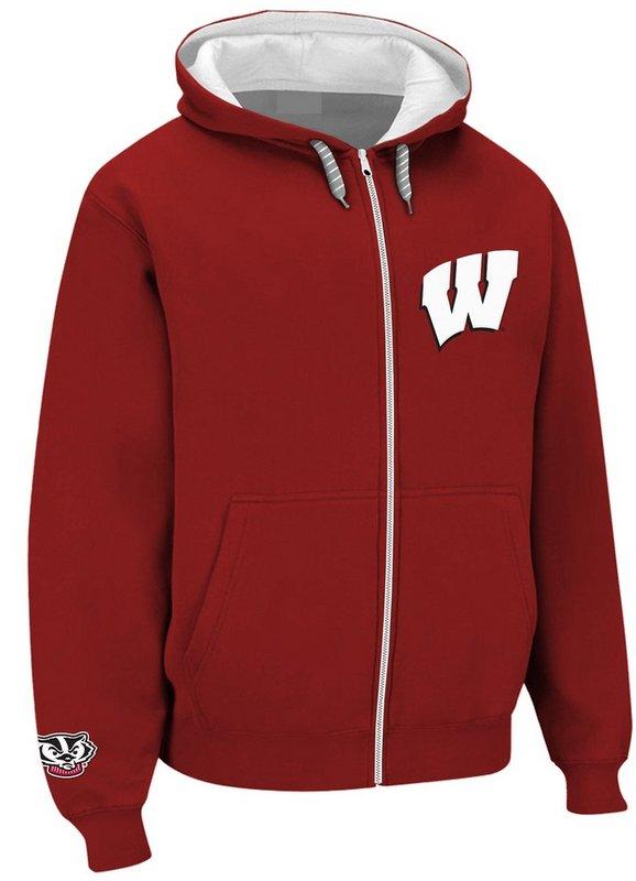 Wisconsin Badgers Full Zip Hoodie Sweatshirt Red WIS29452