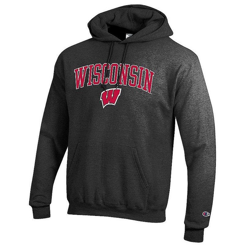 Wisconsin Badgers Hoodie Sweatshirt Varsity Charcoal Arch Over APC02964237*