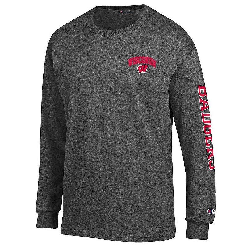 Wisconsin Badgers Long Sleeve TShirt Letterman Charcoal APC02973730/APC02974357