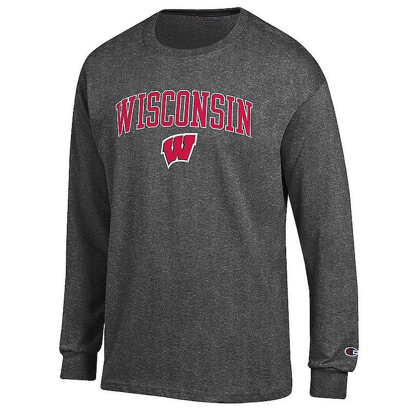 Wisconsin Badgers Long Sleeve TShirt Varsity Charcoal Arch Over APC02964237*