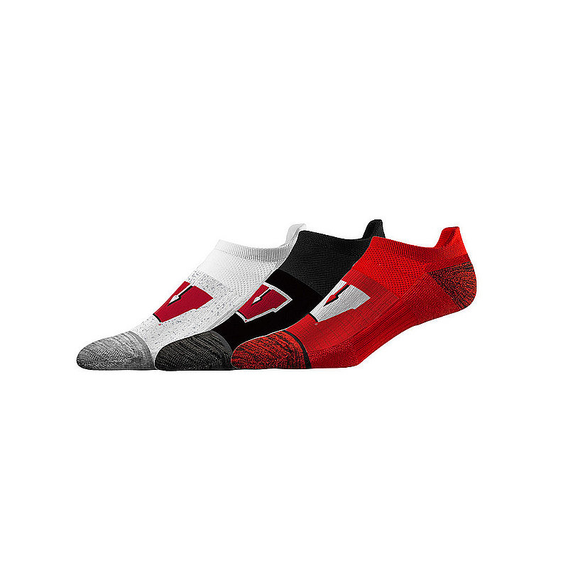 Wisconsin Badgers No Show Socks 3-Pack