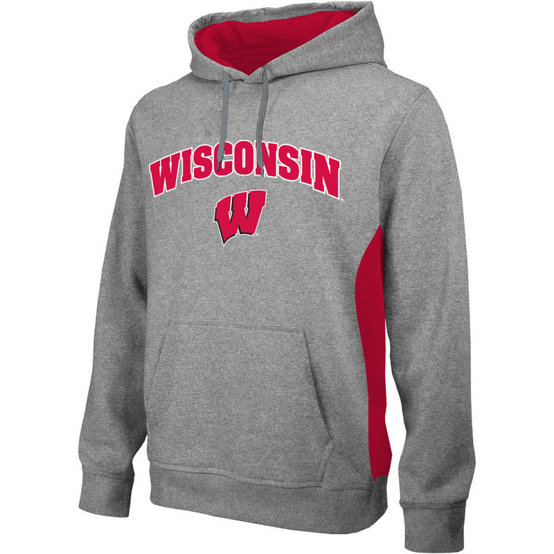 Wisconsin Badgers Poly Hoodie Sweatshirt Gray WIS4P663