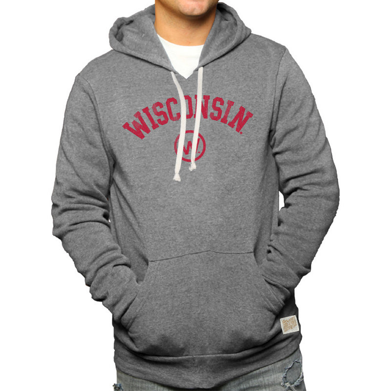 Wisconsin Badgers Retro Hooded Sweatshirt Gray CWIS972B