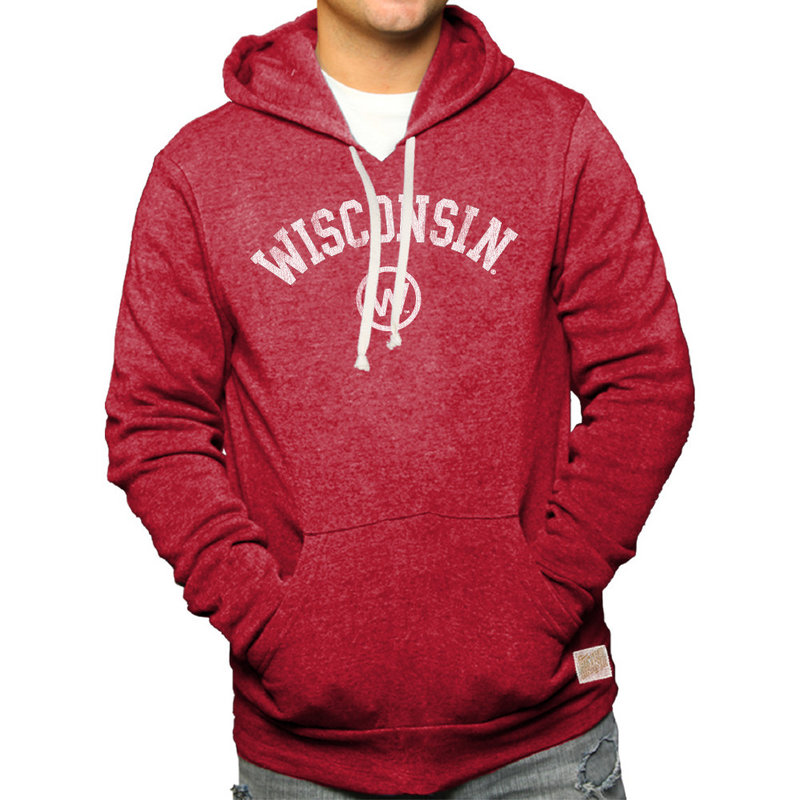 Wisconsin Badgers Retro Hooded Sweatshirt Red