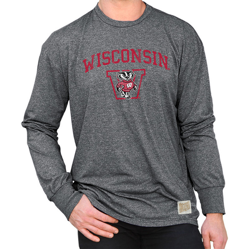 Wisconsin Badgers Retro Long Sleeve TShirt Charcoal RB424_CWIS055A_MTCH