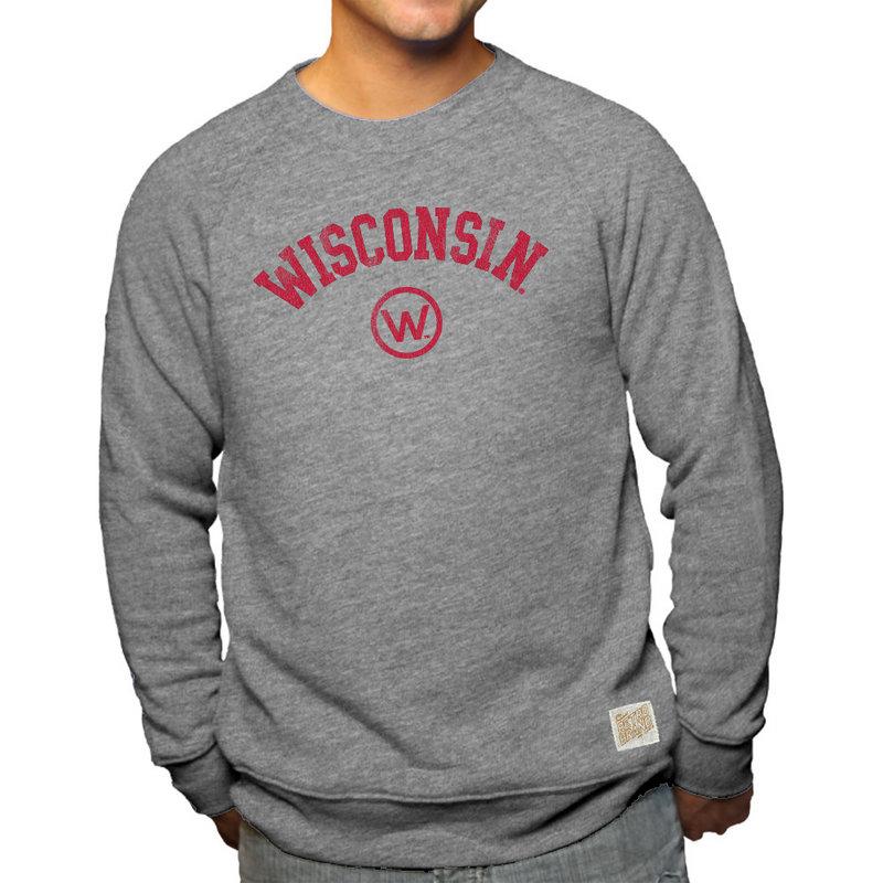 Wisconsin Badgers Retro TriBlend Crewneck Sweatshirt Gray CWIS972B