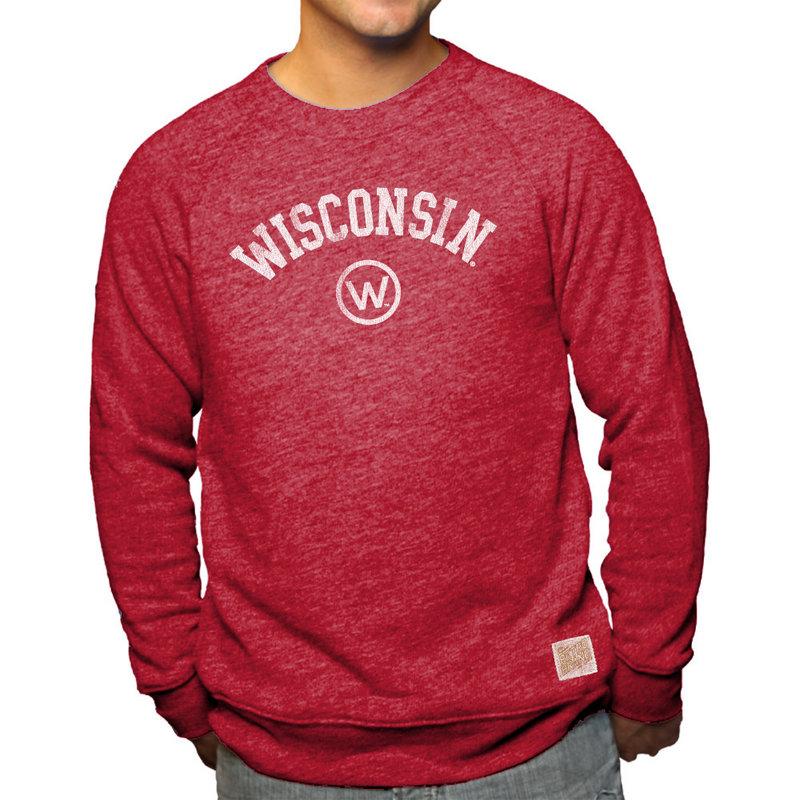 Wisconsin Badgers Retro TriBlend Crewneck Sweatshirt Red