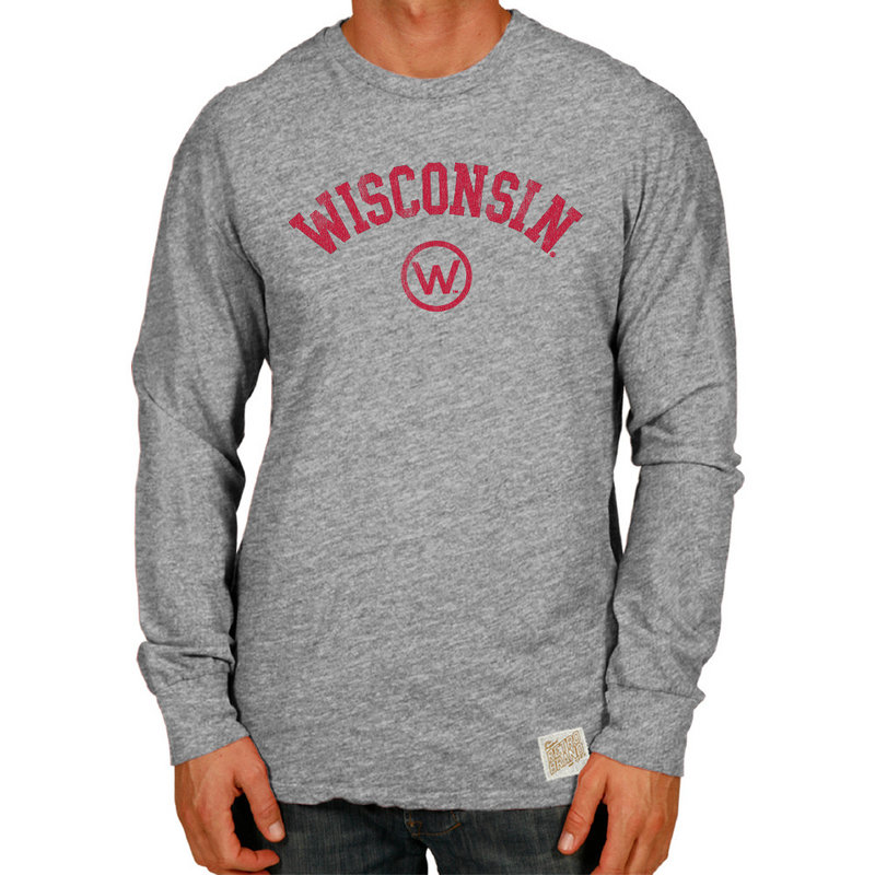 Wisconsin Badgers Retro TriBlend Long Sleeve Tshirt Gray CWIS972B