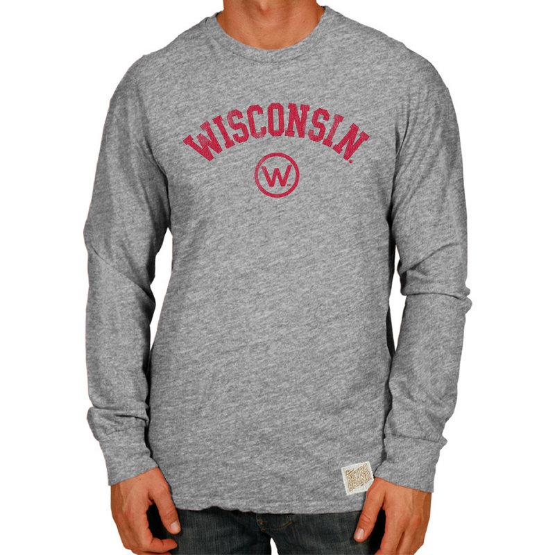 Wisconsin Badgers Retro TriBlend Long Sleeve Tshirt Gray CWIS972B