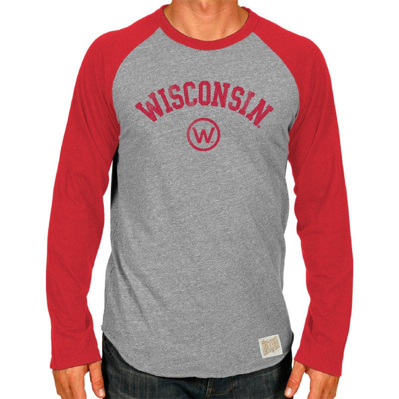 Wisconsin Badgers Retro TriBlend Long Sleeve Tshirt Raglan Gray CWIS002A_RED