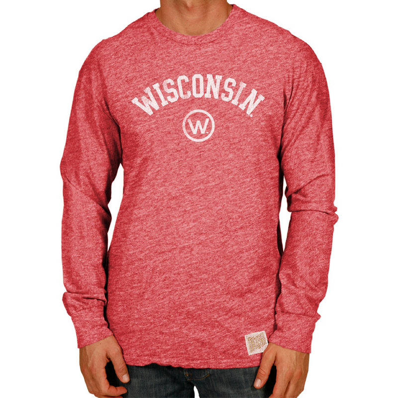 Wisconsin Badgers Retro TriBlend Long Sleeve Tshirt Red CWIS972A