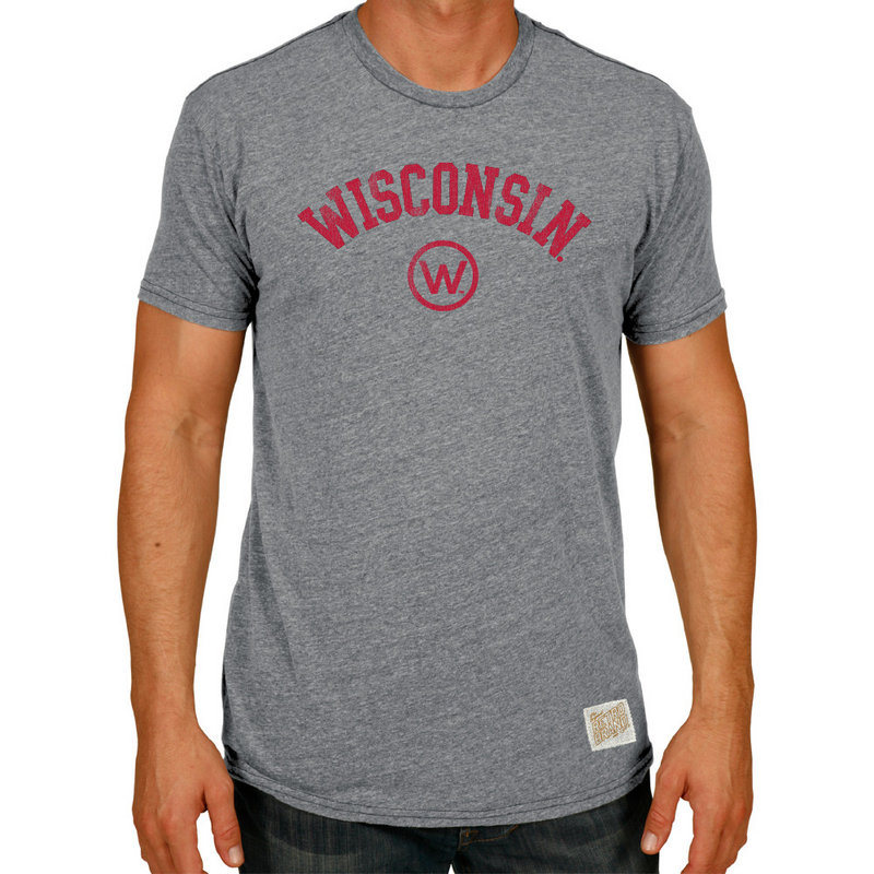 Wisconsin Badgers Retro TriBlend Tshirt Gray CWIS972B