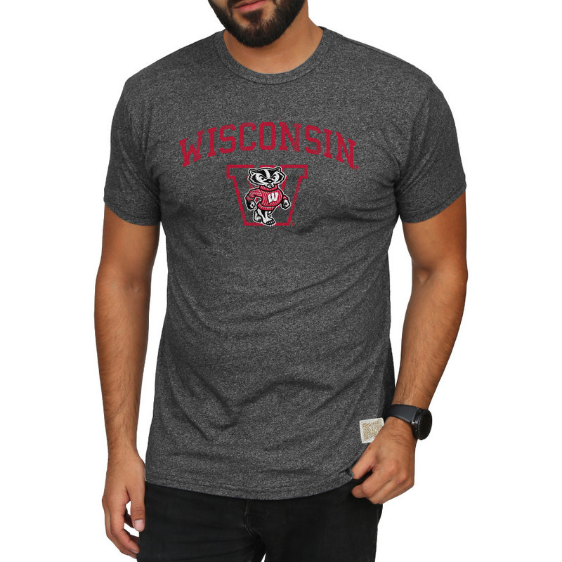 Wisconsin Badgers Retro TShirt Charcoal RB124_CWIS055A_MTCH