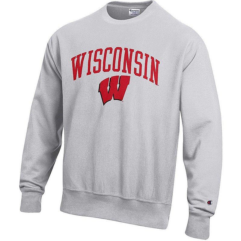 Wisconsin Badgers Reverse Weave Crewneck Sweatshirt Gray APC03005035