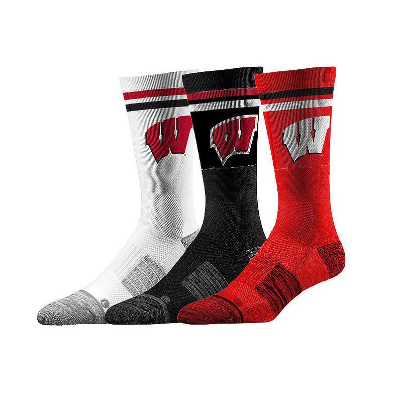 Wisconsin Badgers Socks 3-Pack Retro Stripe