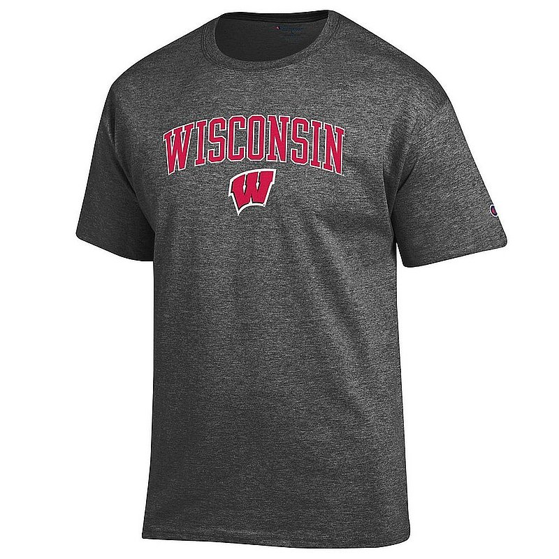 Wisconsin Badgers TShirt Varsity Charcoal Arch Over APC02964237*