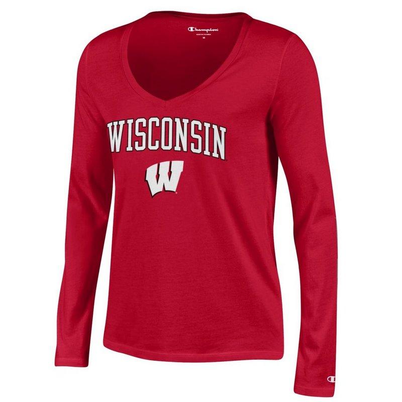 Wisconsin Badgers Womens VNeck Long Sleeve Tshirt Scarlet APC03155790