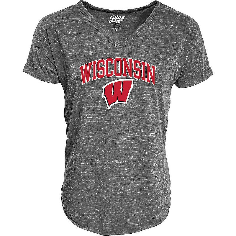Wisconsin Badgers Womens Vneck TShirt Charcoal