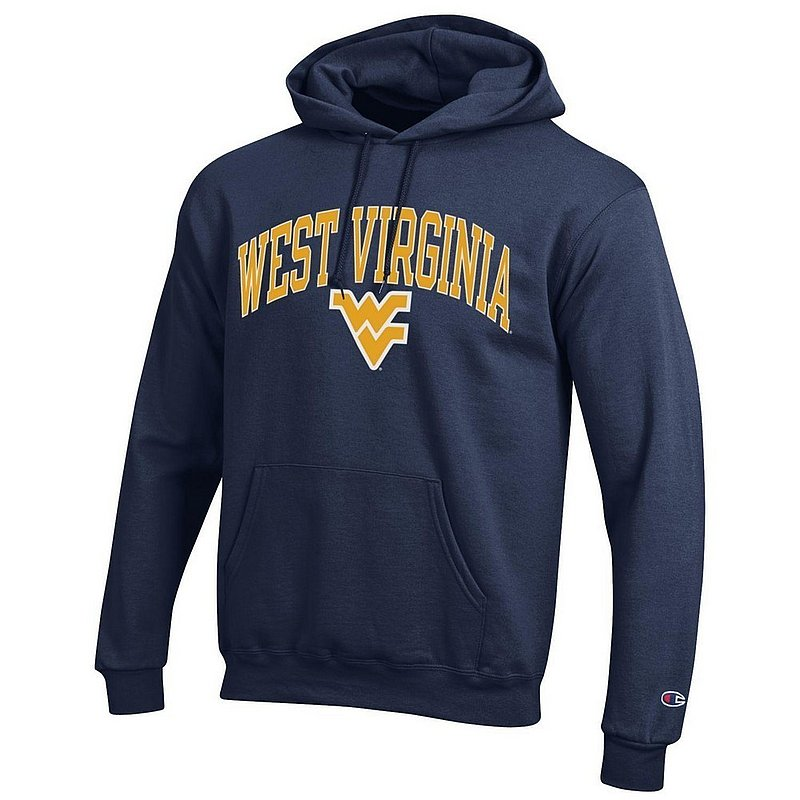 WVU West Virginia Mountaineers Hooded Sweatshirt Varsity Navy Arch Over APC02879958*