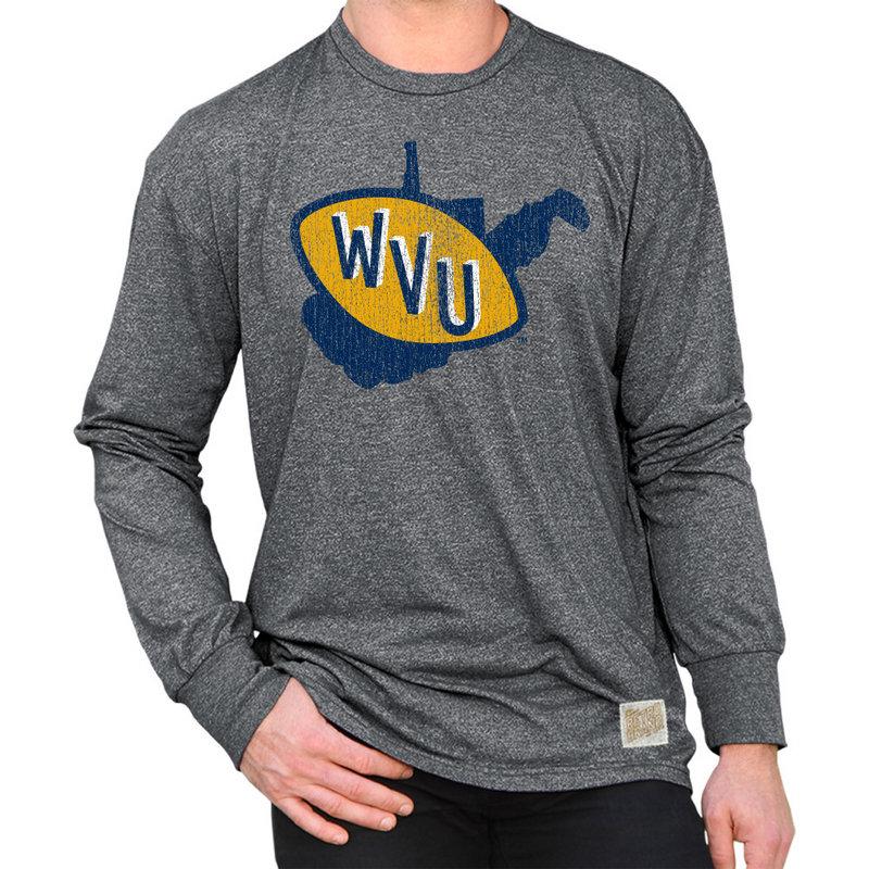 WVU West Virginia Mountaineers Retro Long Sleeve TShirt Charcoal CWVU100A_MTCH