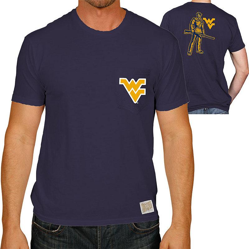 WVU West Virginia Mountaineers Retro Pocket TShirt Navy RB128