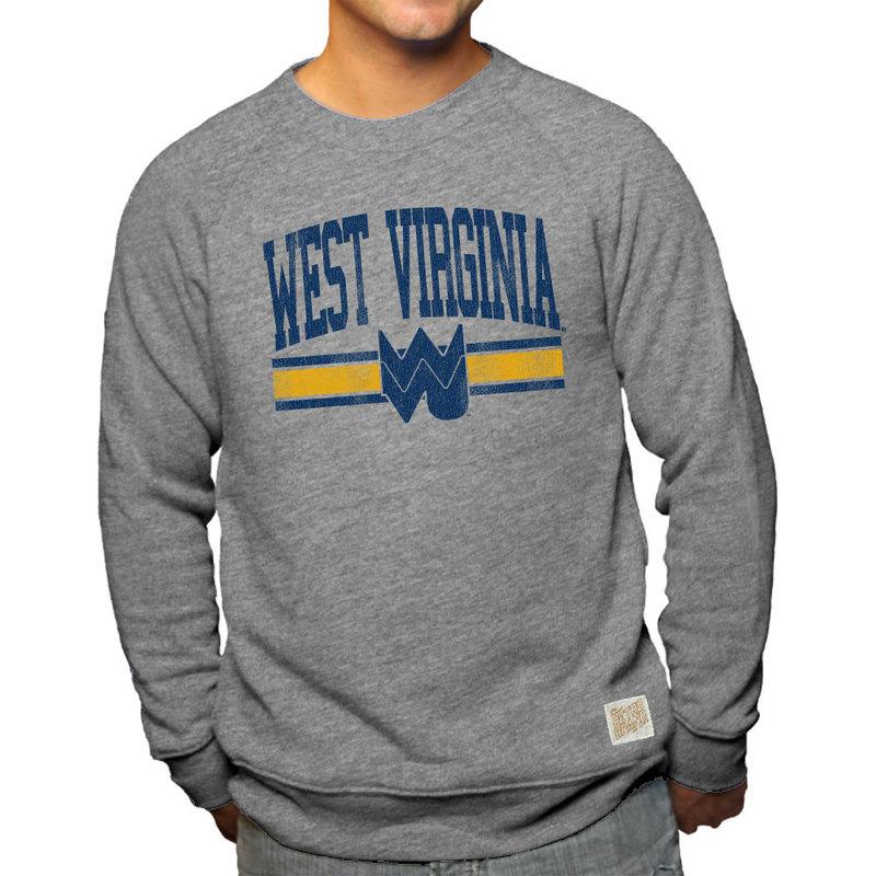 WVU West Virginia Mountaineers Retro TriBlend Crewneck Sweatshirt Gray