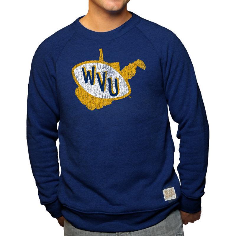 WVU West Virginia Mountaineers Retro TriBlend Crewneck Sweatshirt Navy
