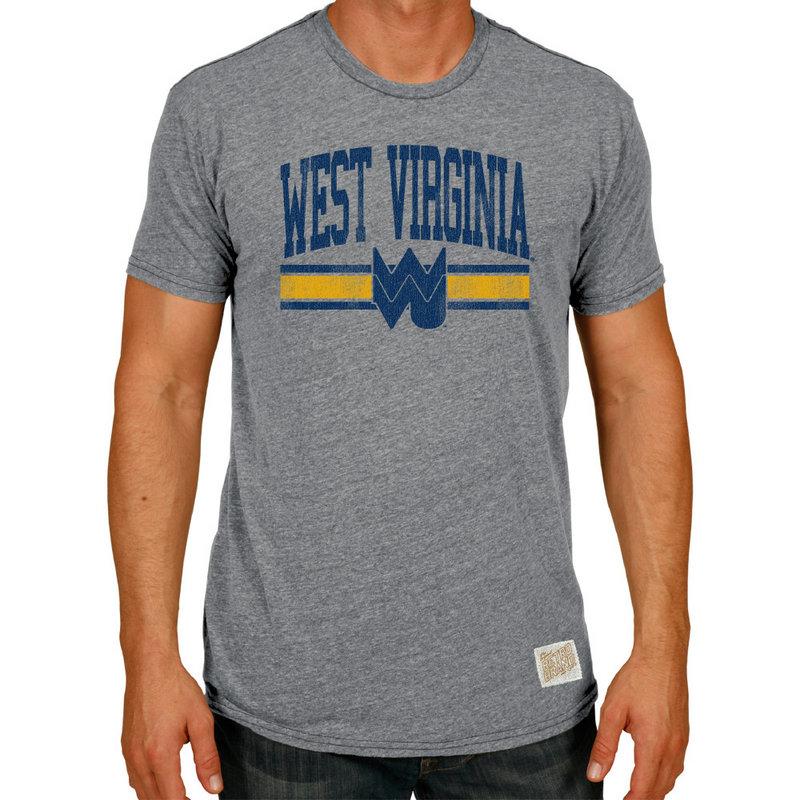 WVU West Virginia Mountaineers Retro TriBlend Tshirt Gray