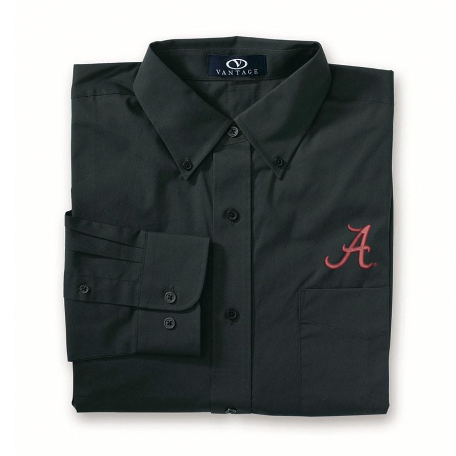 Alabama Crimson Tide Stretch Poplin Shirt Black