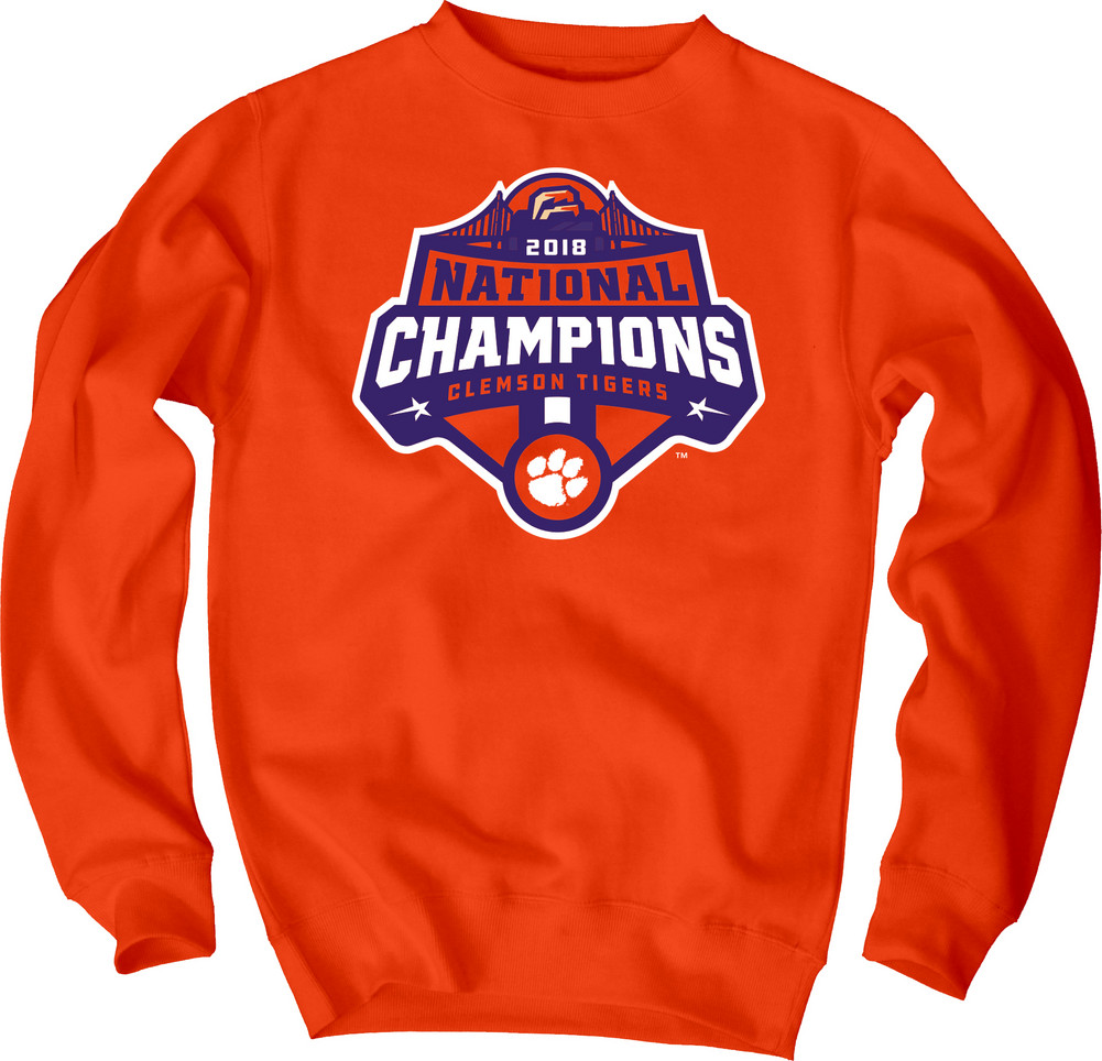 a1aaa6337bd Clemson Tigers National Champs Crewneck Sweatshirt 2018 - 2019 Icon Orange
