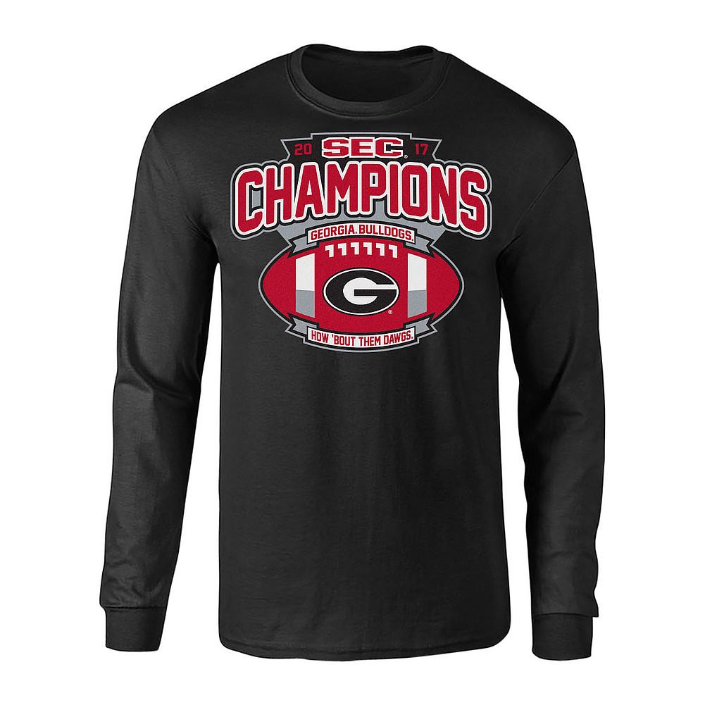 Georgia Bulldogs 2017 Sec Champions >> Georgia Bulldogs SEC Champs Long Sleeve TShirt 2017 Black Football P0010200