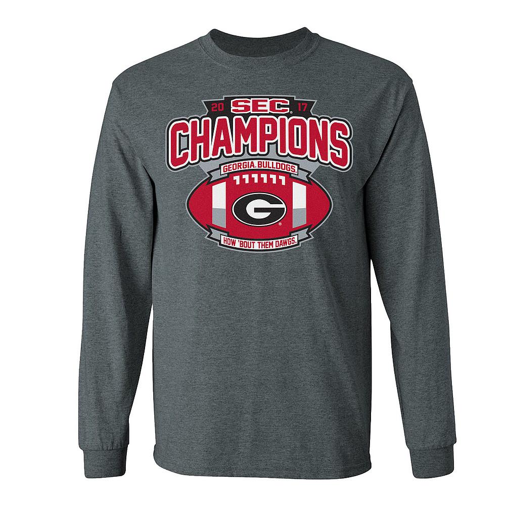 Georgia Bulldogs Sec Champs Long Sleeve Tshirt 2017 Charcoal