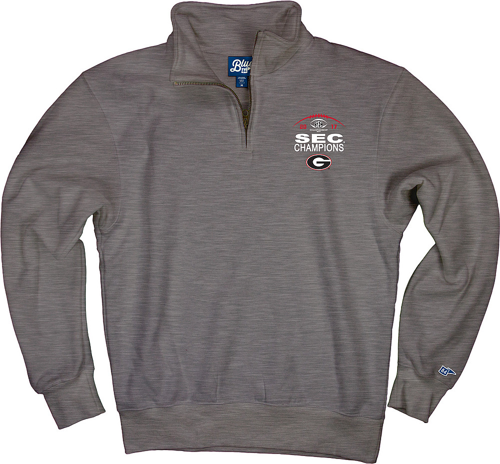 285039f8 Georgia Bulldogs SEC Champs Quarter Zip Sweatshirt Gray HARDWIRE ...